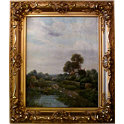 19th Century Oil on Canvas Cottage Scene Nature Landscape by E. Cole in gold gilt frame