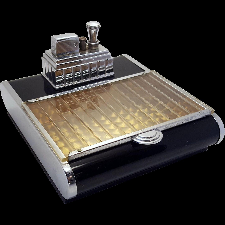 1939 Art Deco Ronson Touch Tip Cigarette Lighter Box Combo Chrome And Enamel