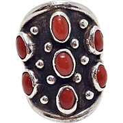 Navajo Sterling Coral Cluster Native American Cabochon Boho Hippie Ring