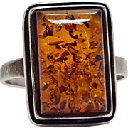Art Deco Style Modernist Sterling Silver Amber Rectangular Stepped Ring Size 8