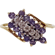 10k Yellow Gold Amethyst Diamond Dainty Thin Band Ring Size 6.5