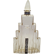 Art Deco Jasmin Parfum Modernistic Lander New York Skyscraper Frosted Stopper Perfume Bottle
