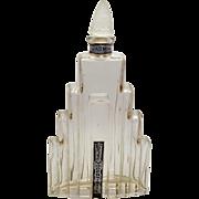 Art Deco Jasmin Parfum Modernistic Lander New York Skyscraper Frosted Stopper Perfume Bottle