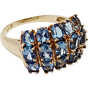 10k Yellow Gold Faceted Blue Topaz 3 Row Cluster Ring December Birthstone Size 7