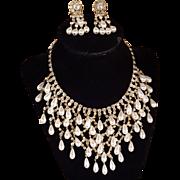 Vintage Juliana Drop Pearl Rhinestone Bib Necklace And Earring Set Bridal, Wedding,