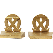 Vintage Greek Alphabet Chi Omega Sorority Bookends