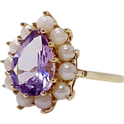 10k Yellow Gold Teardrop Amethyst With Seed Pearl Halo Unconventional Non-Traditional Engagement Wedding Ring