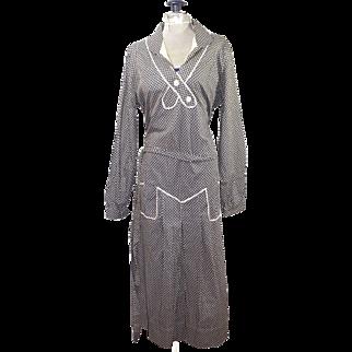 Vintage Art Deco Black and White Patterned Dress