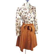 Vintage 1970s Brown and Cream Floral Patterned Button Down Dress Womens clothing