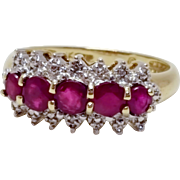 Vintage 10k Yellow Gold 5 Stone Red Ruby Ring July Birthstone Size 6