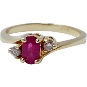 14k Yellow Gold Ruby And Diamond Dainty Small Pinky Ring Size 4