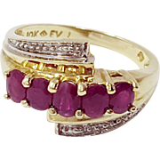 10k Yellow Gold Ruby Ring Size 5.5 July Birthstone Ruby Cluster