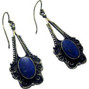 Vintage 925 Sterling Silver and Lapis Lazuli Pierced Earrings