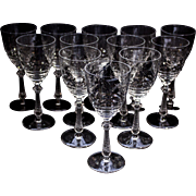 Set of 12 Vintage Cut Crystal Wine Water Glasses Stemware