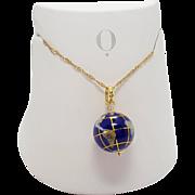 Vintage Michael Anthony 14K Globe World Charm necklace Lapis Inlay charm globe pendant necklace
