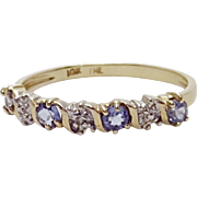 10k Yellow Gold Amethyst And Diamond Chip Dainty Thin Band Ring Size 7