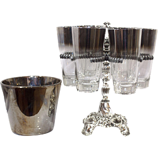 Vintage Authentic Dorothy Thorpe Silver Fade Cocktail Tumblers, Caddy, and Ice Bucket set, Glassware, Highballs