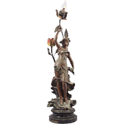 "French Art Nouveau ""Matin D'Automne"" Sculptural Newel Post Lamp, Table Lamp August Moreau"