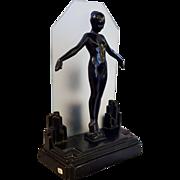 Original 1928 Frankart Art Deco Lady Lamp,  Nude Girl,  Figural Lamp Light
