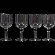 Set of 4 Crystal Wine Glasses With Column Stem Water Goblets Stemware