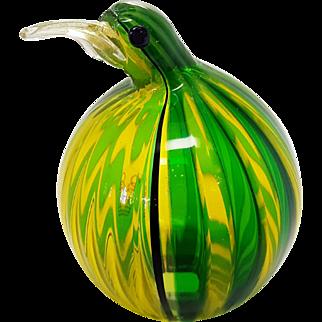 Oggetti Italian blown Glass Green and Yellow Kiwi Bird, Penguin, Glass Animal Sculpture