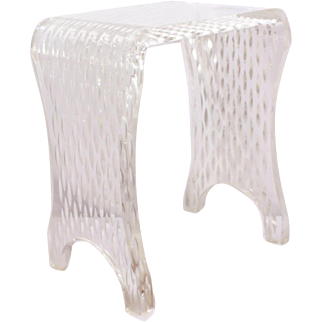 Vintage Small Carved Lucite Bench, Table, Stand