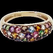 Multistone Gemstone Cluster 14k Gold Ring Size 7 Peridot, Amethyst, Topaz, Citrine, Aquamarine, Tourmaline, Blue Topaz, Garnet