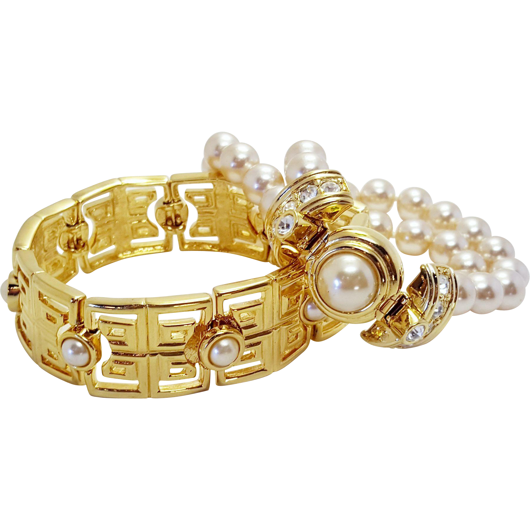 KJL Gold Tone and Faux Pearl Bracelet Gift Set Double Stranded Imitation Pearl Bracelet and Greek Key Square Link Bracelet Kenneth J. Lane Bridal