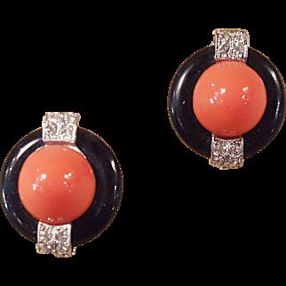 KJL Kenneth J Lane Orange Round Faux coral and black Art Deco Style Rhinestone Clip On Earrings