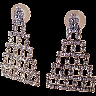 Art Deco Style Skyscraper Pyramid Rhinestone Hanging Bridal Wedding Silver and Clear Crystal Pierced Earrings