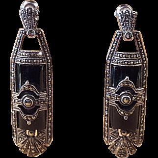 Art Deco Onyx Marcasite Sterling Silver Dangle Pierced Earrings