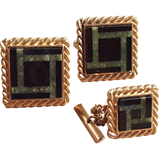 Anson 12k Gold Filled Onyx and Malachite Square Cufflinks Cuff Links and Matching Tie Tack