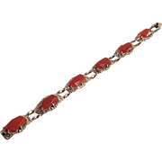 German Art Deco Sterling Silver Carnelian and Marcasite Bracelet