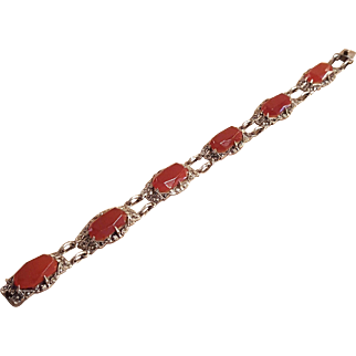 German Art Deco Sterling Silver Carnelian and Marcasite Bracelet