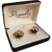 Earthy Agate Gold Tone Royale Cuff Link Cufflink Set In Box