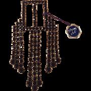 Art Deco Black Prong Set Rhinestone NOS Belt Buckle Scarf Holder