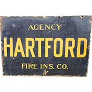 Hartford Agency Fire Insurance Metal Porcelain Sign- Farm Fresh! Chicago IL