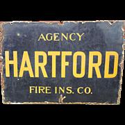 Hartford Agency Fire Insurance Metal Porcelain Sign- Farm Fresh! Chicago IL