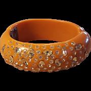 Rare Orange with Clear Rhinestone 1940's thermoset plastic Clamper Hinged Bangle Bracelet
