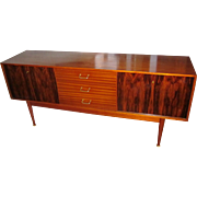 Uniflex Furniture Mid Century Modern MCM Rosewood & Ribbon Mahogany Sideboard Buffet Credenza Console Long TV Stand Cabinet