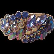 Purple and Blue AB Aurora Borealis Rhinestone Hinged Clamper Bracelet