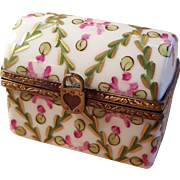 Vintage Handpainted Limoges Floral Treasure Chest Porcelain Pill Box Trinket Box Jewelry Box Made in France