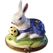Vintage Handpainted Limoges Easter Bunny Rabbit Eater Egg Porcelain Pill Box Trinket Box Jewelry Box Made in France