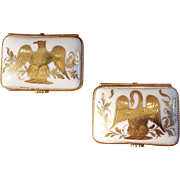 Vintage Pair of Handpainted Limoges Napoleon And Josephine Pair of Porcelain Pill Boxes Trinket Boxes Jewelry Boxes Made in France
