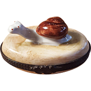 Vintage Handpainted Limoges Thin Oval Snail Animal Porcelain Pill Box Trinket Box Jewelry Box Made in France
