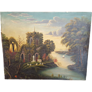 Unsigned Ocean Cove Castle Church Graveyard Painting Scene Oil On Canvas Vintage Painting