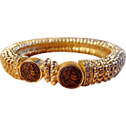 Gold Tone Old French Napoleon Coin Bracelet Stretch Cuff