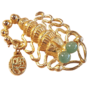 New Old Stock Vintage Hobe Lobster or Scorpion Gold Tone Pin Brooch With Genuine Jade Eyes