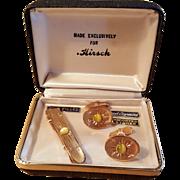 Men's Rose Gold Filled Hirsch Cuff Link and Tie Clip Atomic Mid Century MCM Starburst Hand Engraved Set Cat Eye Stone