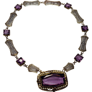 Art Deco  Czech Amethyst Glass Silver Filigree Choker Necklace